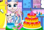 Angela piecze tort