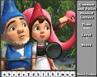 Gnomeo i Julia szukanie przedmiotów dla dzieci