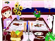 Dekorowanie stołu przed romantyczną kolacją