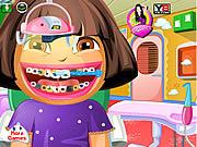 Dora u dentysty myje zęby