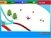Mikołaj skaczący na nartach