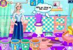 Elsa sprząta łazienkę