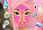 Czarno różowy makijaż