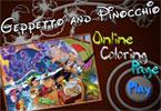 Kolorowanka Geppetto i Pinocchio
