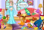 Elsa w ciąży sprząta pokój