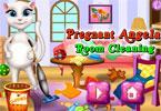 Angela w ciąży sprząta pokój