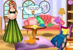 Anna w ciąży sprząta pokój