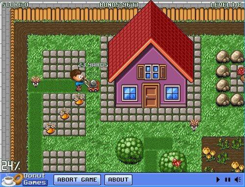 Gra w koszenie trawy kosiarką online