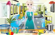Elsa sprząta dom