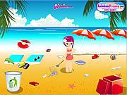 Pani ekolog sprząta plażę